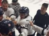 Жесткий массовая драка хоккейных клубов из Канады, в котором приняли участие даже тренеры